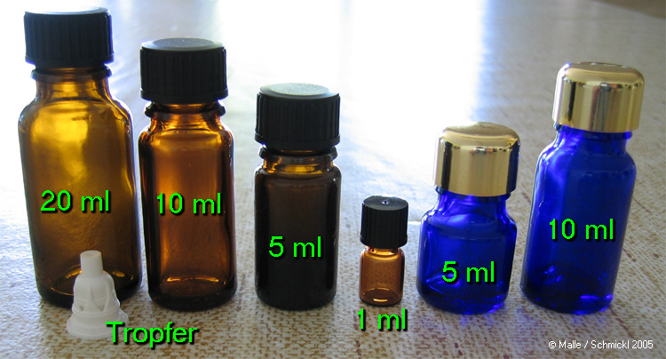 5 ml blue bottles for storing essential oils